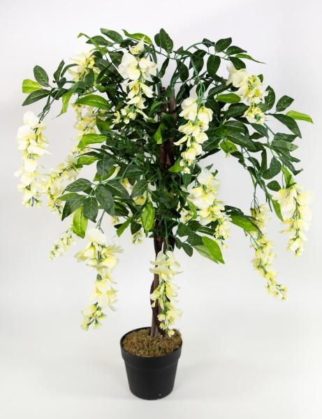 Wisteriabaum 90cm weiß-creme ZJ Kunstbaum Kunstpflanzen künstlicher Baum Pflanze Goldregen Wisteria