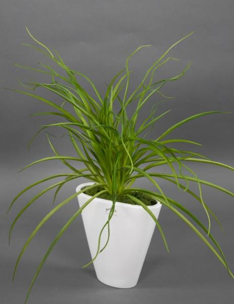 Seegrasbusch 54x54cm in weißer Keramikvase Kunstpflanzen Kunstgras künstliches Gras Grasbusch