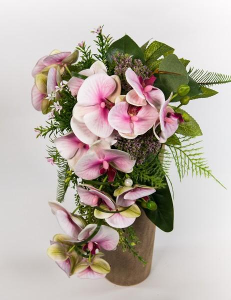 Orchideenstrauß / Brautstrauß Real Touch rosa-pink - Kunstblumen künstliche Blumen Orchidee