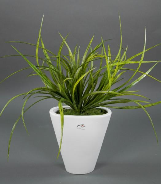 Gras grün 42x36cm in weißer Keramikvase Kunstpflanzen Kunstgras künstliches Gras Grasbusch
