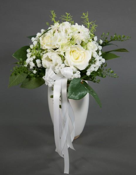 Rosen- Hortensienstrauß 34x28cm weiß-creme Kunstblumen künstlicher Strauß Blumenstrauß Rosenstrauß-C