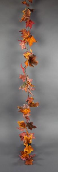 Ahorngirlande 180cm orange-gelb-rot-braun PM Kunstpflanzen künstlicher Ahorn Herbstgirlande