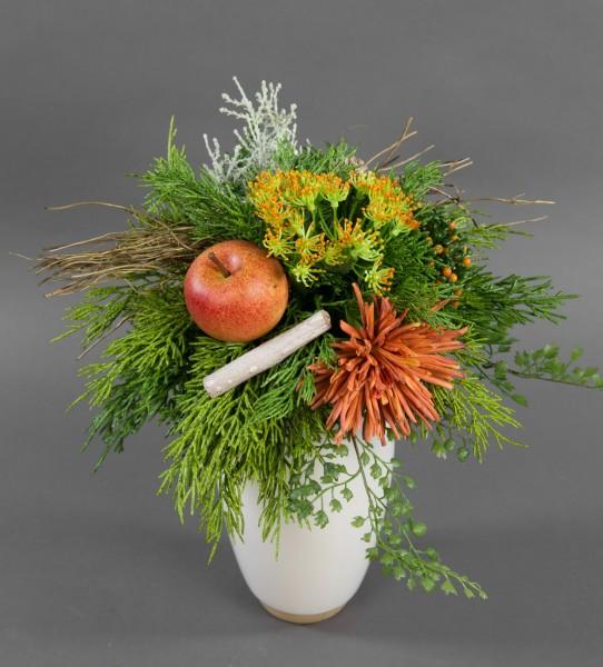 Strauß Landgut Exklusiv mit Chrysantheme Apfel und Zeder Kunstblumen künstliche Blumen
