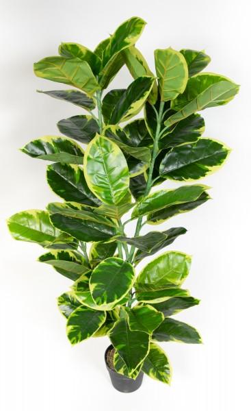 Gummibaum 120cm ZJ Kunstbaum Dekobaum Kunstpflanzen künstlicher Baum Ficus Elastica