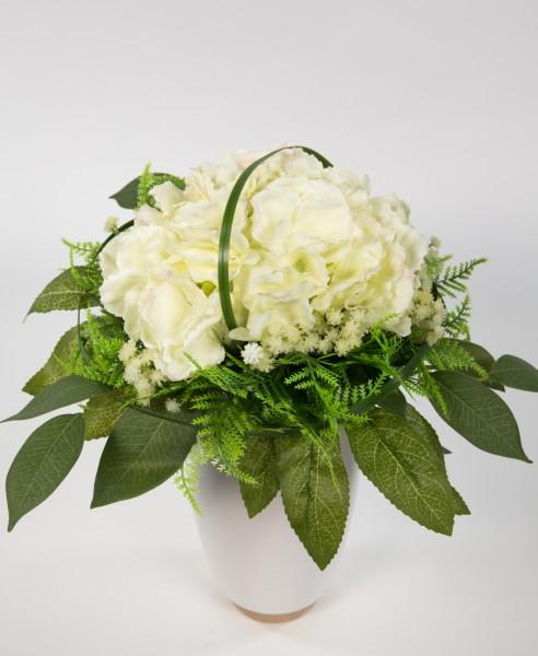 Hortensienstrauß 34x26cm weiß-creme Kunstblumen künstlicher handgebundener Strauß Blumenstrauß