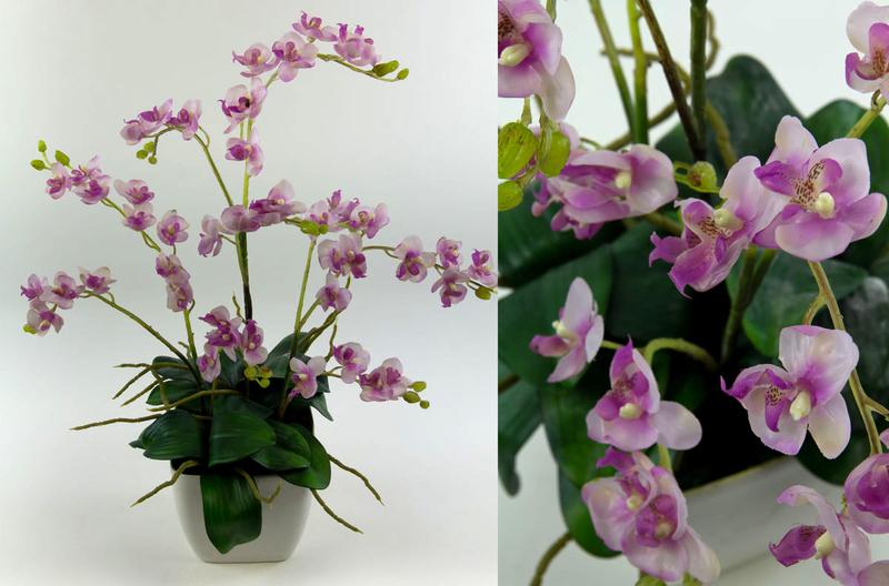 Orchideen arrangement flieder im wei en dekotopf ja kunstblumen k nstliche orchidee orchideen - Orchideen arrangement ...