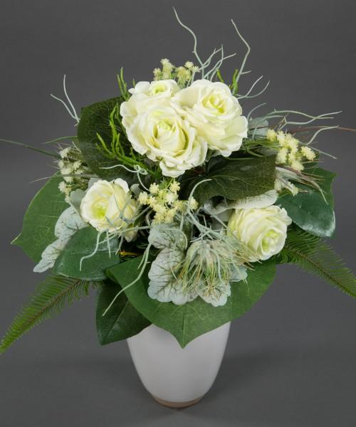 Rosenstrauß Elena 38x30cm weiß-creme Kunstblumen künstlicher handgebundener Strauß Rosenstrauß