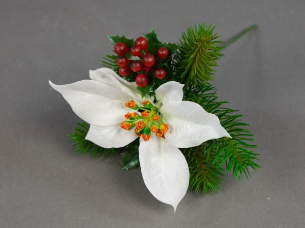 Weihnachtsstern- Beeren- Tannenpick 22cm weiß PM künstliche Tanne Blumen Kunstblumen Tannenzweig
