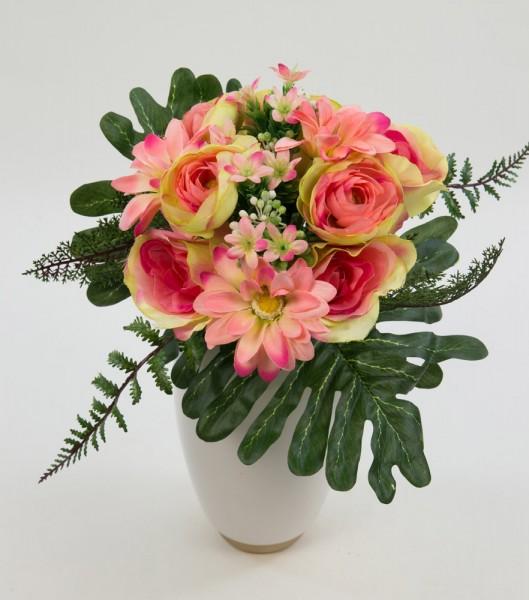 Rosen-Ranunkel-Dahlien-Bouquet 24cm rosa-pink DP Kunstblumen künstlicher Strauß Seidenblumen