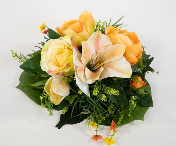 Tischgesteck / Wandhänger rund 34cm gelb-peach Kunstblumen künstliche Blumen