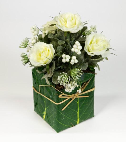 Rosengesteck 20x15cm weiß-creme im Blatttopf LM Kunstblumen Seidenblumen künstliche Blumen