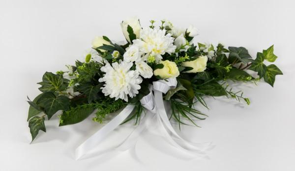 Tischgesteck länglich 60cm weiß-creme mit Rosen und Chrysanthemen Kunstblumen Seidenblumen künstlich