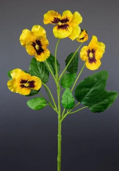 Stiefmütterchenzweig 48cm gelb LM Kunstblumen Seidenblumen künstliche Blumen Stiefmütterchen