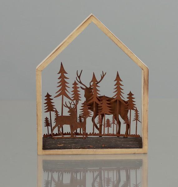 Metalllandschaft im Holzrahmen mit Bäumen und Rehe rost-farben DP Weihnachtsdekoration