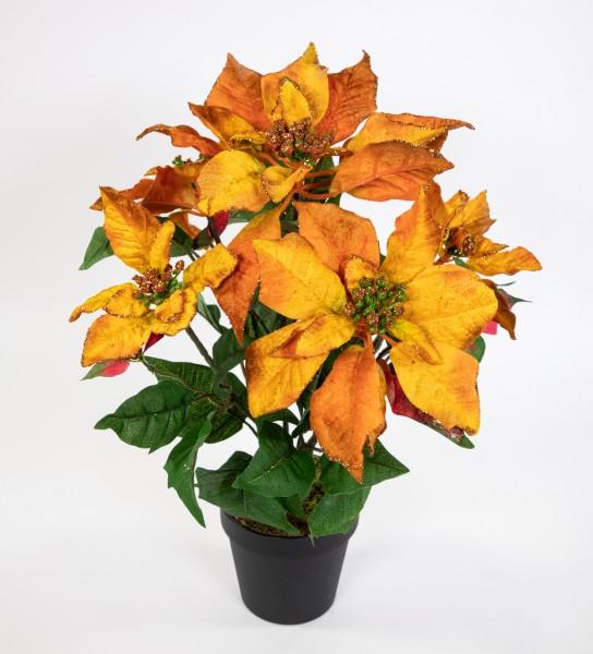 Weihnachtsstern mit Glitzer 48cm orange im Topf LM künstliche Blumen Kunstblumen Poinsettie