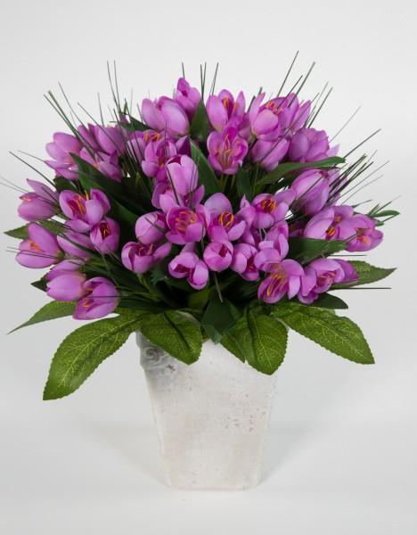 Krokusstrauß 32x30cm lila Frühlingsstrauß Kunstblumen künstlicher handgebundener Strauß Blumenstrauß
