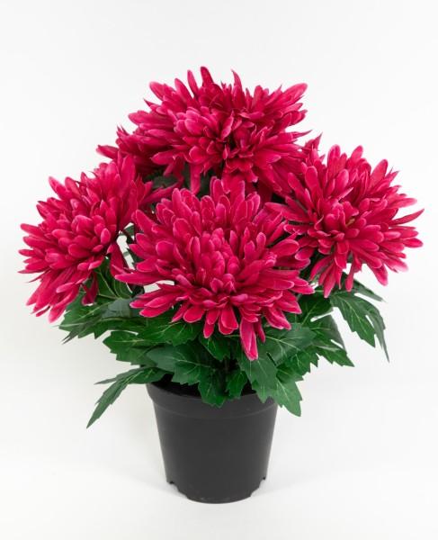 Chrysantheme 32cm fuchsia im Topf GA Kunstpflanzen künstliche Pflanzen Blumen Kunstblumen
