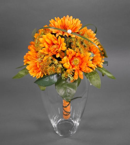 Gerberastrauß / Brautstrauß 40x32cm orange - Kunstblumen künstlicher Strauß Blumenstrauß