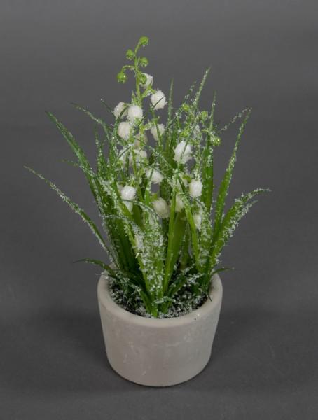 Maiglöckchen 20cm geeist im Steintopf GA Kunstblumen Kunstpflanzen künstliche Blumen