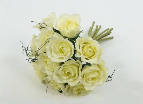 Rosenbouquet 24cm creme mit 12 Rosen DP Kunstblumen künstlicher Strauß Rosen Rosenstrauß