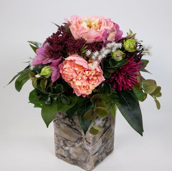 Pfingstrosenstrauß 40x32cm rosa-pink Kunstblumen künstliche Blumen Blumenstrauß Strauß Pfingstrose