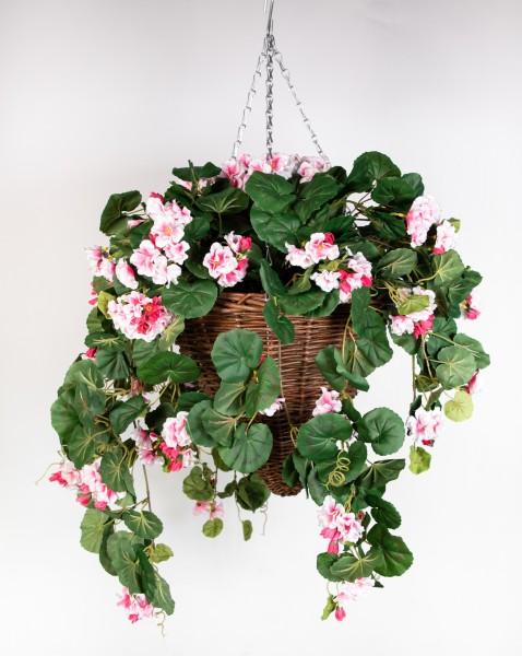 Pflanzampel Gr.L mit Geranie 45cm / 90cm rosa Kunstpflanzen Hängeampel Blumenampel künstliche Blumen
