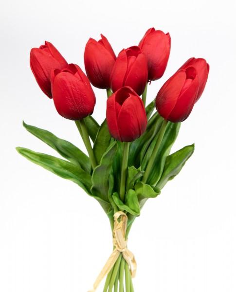 Tulpenbund mit 8 Tulpen PU Real Touch 34cm rot ZF Kunstblumen künstliche Blumen