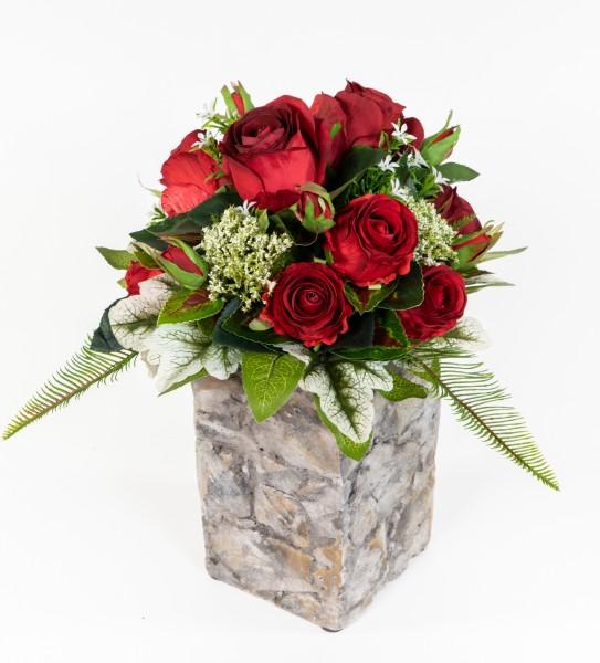 Strauß Amsterdam Exklusiv 32x28cm rot mit 16 Rosen Kunstblumen künstlicher Blumenstrauß