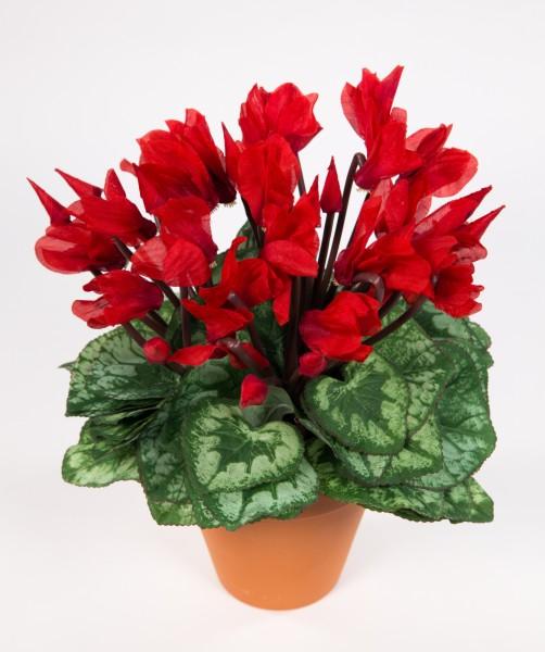 Großes Alpenveilchen 32cm rot im Topf NT künstliche Blumen Kunstpflanzen Kunstblumen Cyclamen