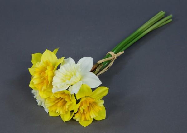 Narzissenbund 34cm weiß-gelb AD Kunstblumen künstliche Blumen Narzissen Osterglocken