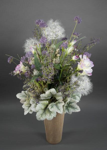 Strauß Florenz Exklusiv 74x42cm mit Pusteblumen und Lysianthus Kunstblumen künstlicher Blumenstrauß