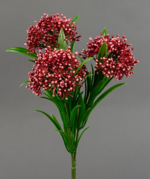Beerenbusch mit 3 Köpfen 20cm fuchsia CG Beerenzweig Kunstblumen Beerenpick künstliche Blumen