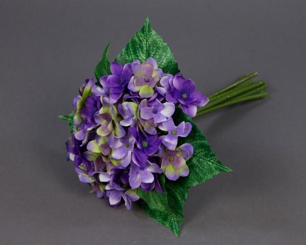 Hortensienstrauß / Hortensienbouquet 24cm lila PF Kunstblumen künstlicher Strauß Seidenblumen