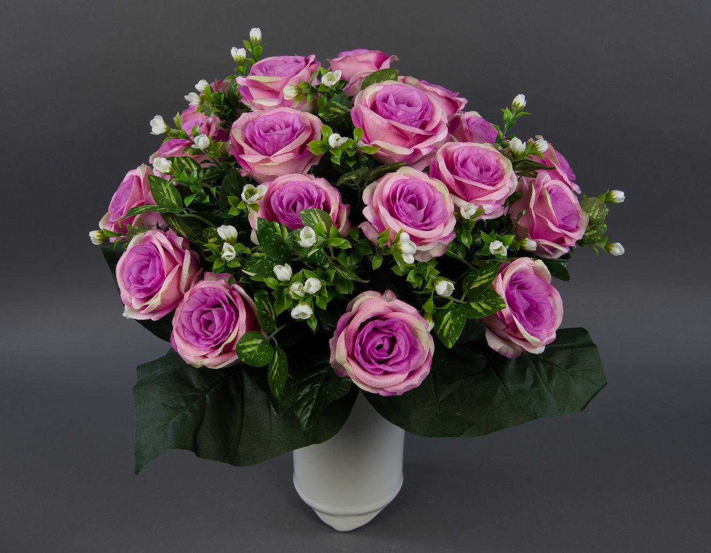 Großer Rosenstrauß 45x45cm Fuchsia Rosa Creme Lm Kunstblumen Künstlicher Strauß Seidenblumen