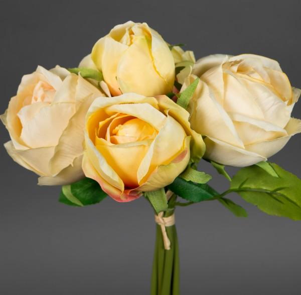 Rosenstrauß 28x20cm gelb-salmon FT Kunstblumen künstliche Rosen Blumen Strauß Blumenstrauß