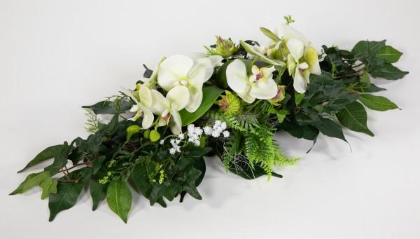 Orchideen-Tischgesteck länglich 60cm weiß-grün Kunstblumen künstliche Blumen Orchidee