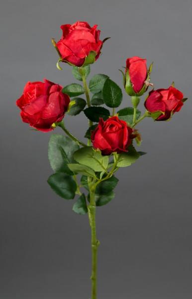 Rosenzweig 40cm rot GA Kunstblumen Seidenblumen künstliche Blumen Rosen Rose