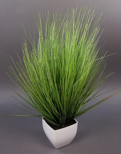 Dekogras 62x45cm im weißen Topf DP künstliche Pflanzen Kunstpflanzen Grasbusch Kunstgras