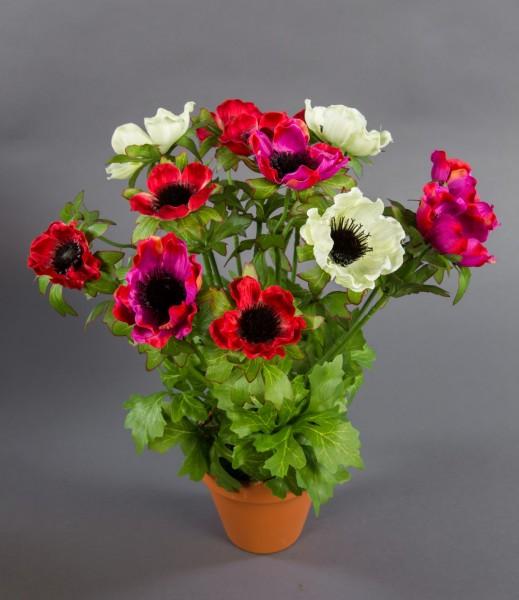 Anemonenbusch 36cm rot-fuchsia-creme LM Kunstpflanzen künstliche Anemonen Pflanzen Blumen Kunstblume