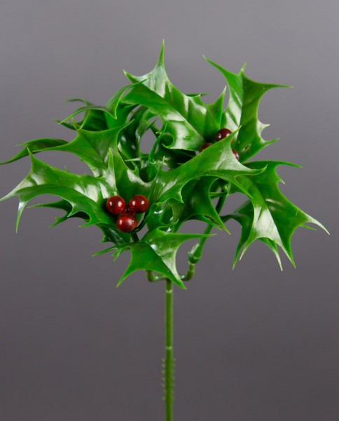 Ilexpick mit roten Beeren 20cm CG Kunstblumen Ilexzweig künstlicher Ilex