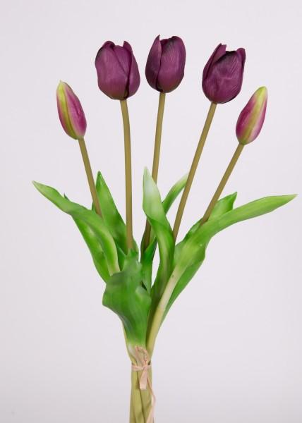 Tulpenbund Real Touch 36cm lila FT Kunstblumen künstliche Blumen Tulpen
