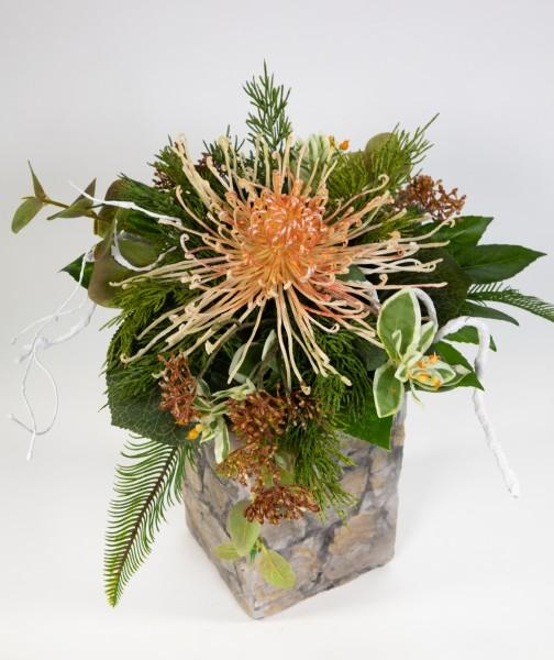 Chrysanthemenstrauß 40x30cm hellgelb-peach Kunstblumen künstliche Blumen Blumenstrauß Strauß