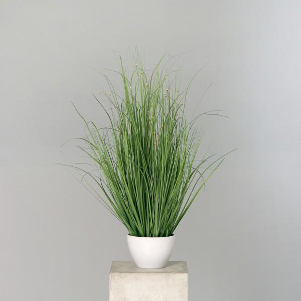 Grasbusch mit Blüten 80x60cm im weißen Rundtopf DP Dekogras künstliches Gras Kunstpflanzen