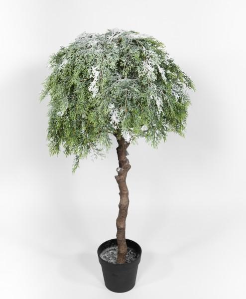 Zedernkugelbaum mit Schnee und Eis 120x60cm GA künstlicher Tannenbaum Zeder Kunststoff Spritzguss