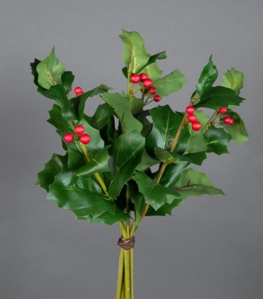 Ilexbund mit 6 Zweigen 30cm grün JA Kunstpflanzen künstlicher Ilex Zweig Ilexbusch