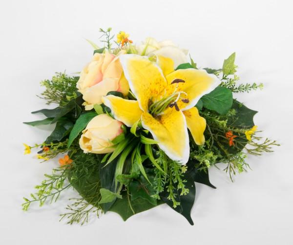 Tischgesteck / Wandhänger rund 36cm gelb Kunstblumen künstliche Blumen