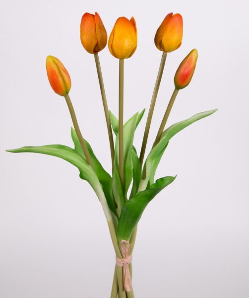 Tulpenbund Real Touch 36cm orange FT Kunstblumen künstliche Blumen Tulpen