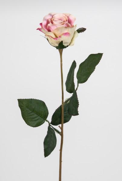 Rose 45cm rosa-creme LM Kunstblumen künstliche Rose Rosen Blumen Seidenblumen