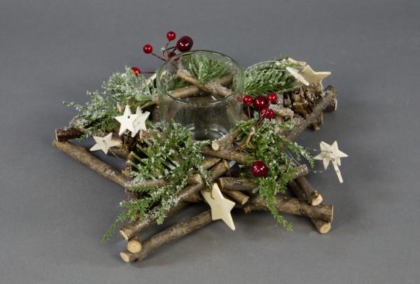 Teelicht Kerzenhalter Stern 25x8cm mit Tanne und Beeren GA Kerzenständer Teelichthalter Weihnachten