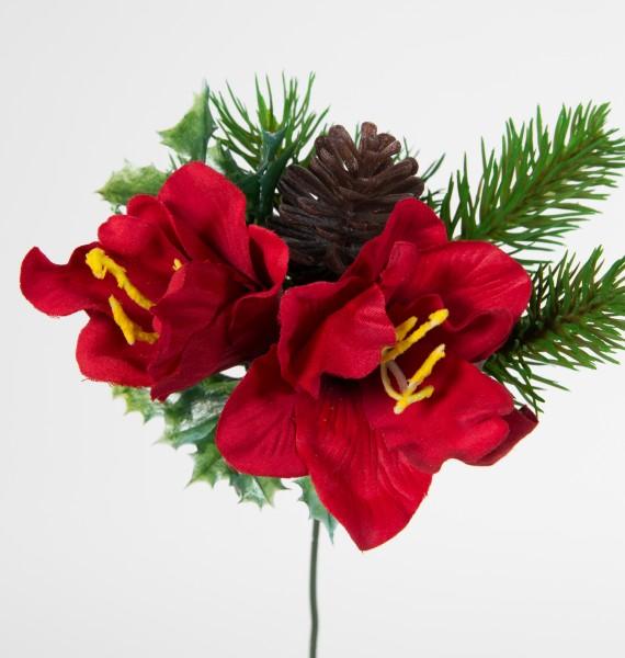 Amaryllis- Zapfen- Tannenpick 22cm rot PM künstliche Amaryllis Tanne Blumen Kunstblumen Tannenzweig